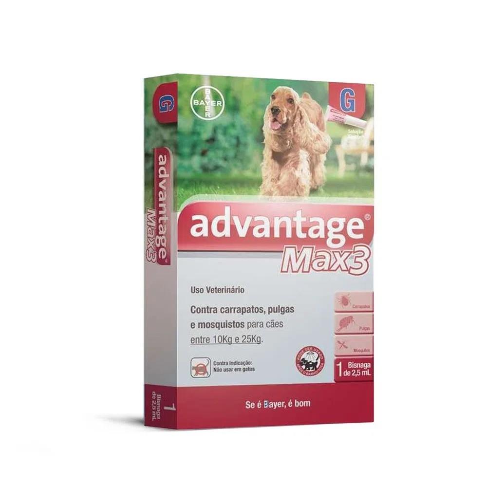 Antipulgas e Carrapatos Bayer Advantage MAX3 para Cães de 10 a 25 Kg - 2,5 mL