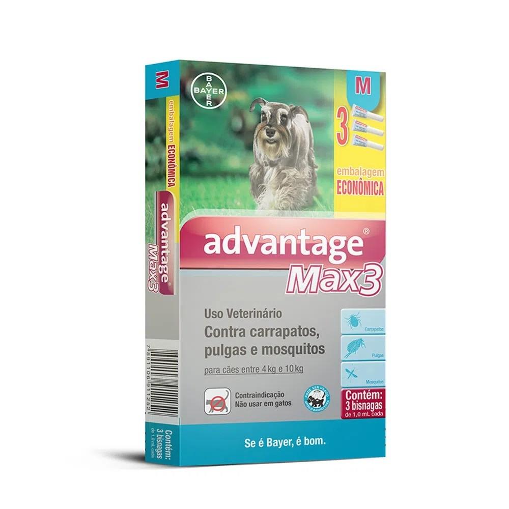 Antipulgas e Carrapatos Bayer Advantage MAX3 para Cães de 4 a 10 Kg - 1,0 mL