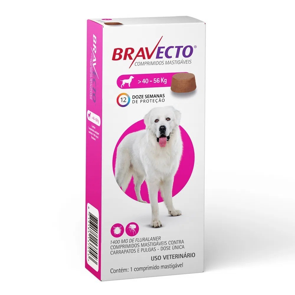 Antipulgas e Carrapatos Bravecto para Cães de 40,1 a 56 Kg