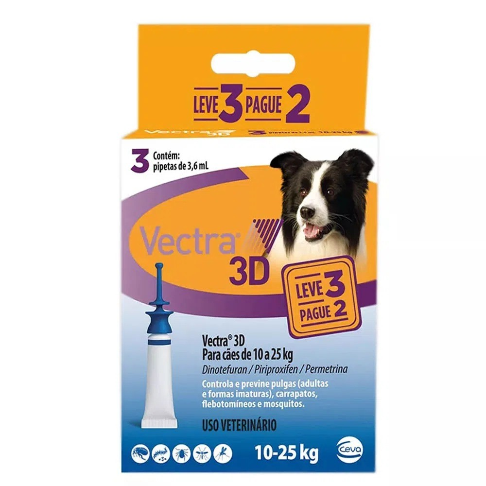 Antipulgas e Carrapatos Ceva Vectra 3D Cães de 10 A 25 Kg 3,6 mL