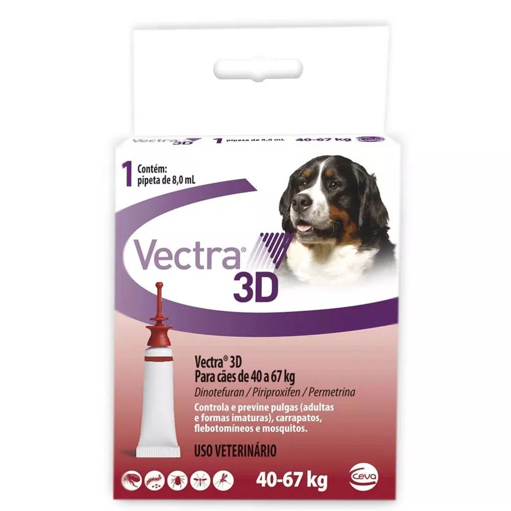 Antipulgas e Carrapatos Ceva Vectra 3D Cães de 40 a 67 Kg 8,0ml