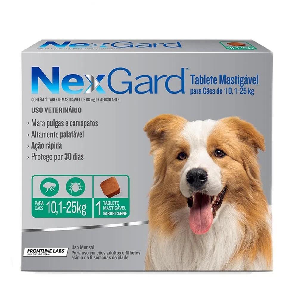 Antipulgas e Carrapatos NexGard 28,3 mg para Cães de 10 a 25 Kg