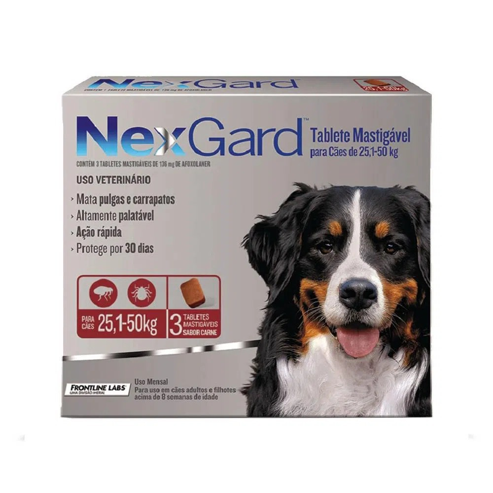 Antipulgas e Carrapatos NexGard 136 mg para Cães de 25 a 50 Kg