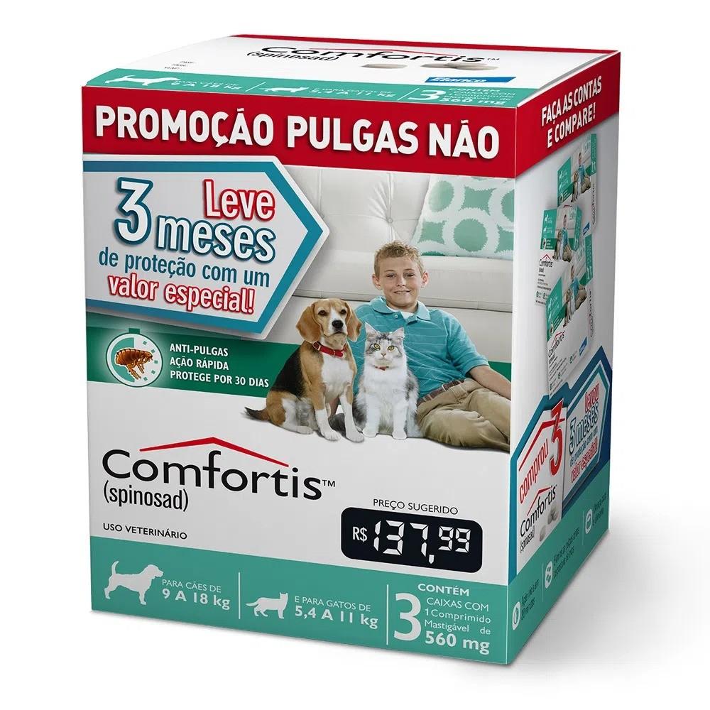 Antipulgas Elanco Comfortis 560 mg para Cães de 9 a 18 Kg e Gatos de 5,5 a 11 Kg