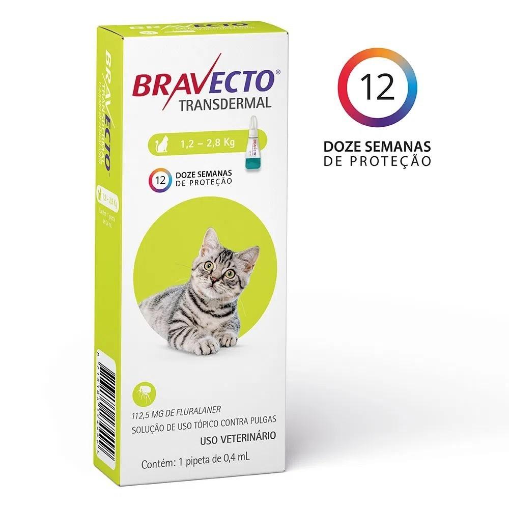Antipulgas e Carrapatos Transdermal Bravecto MSD para Gatos de 1,2 a 2,8 Kg