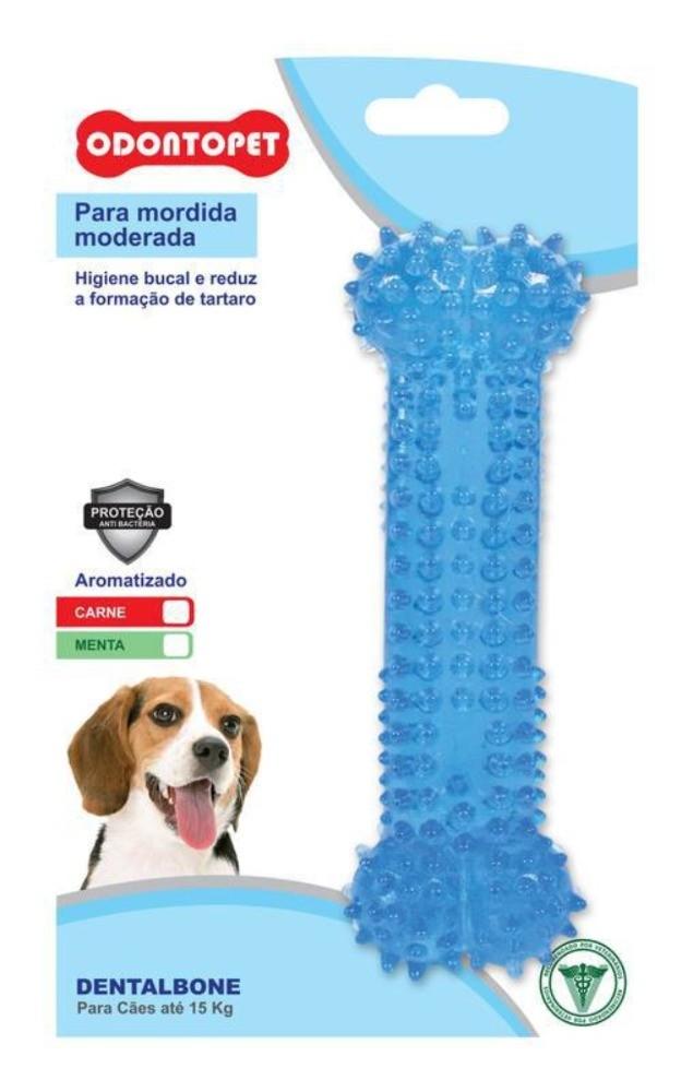 Brinquedo Cachorro Odontopet Dentalbone Osso Sabor Menta para Cães Até 15kg