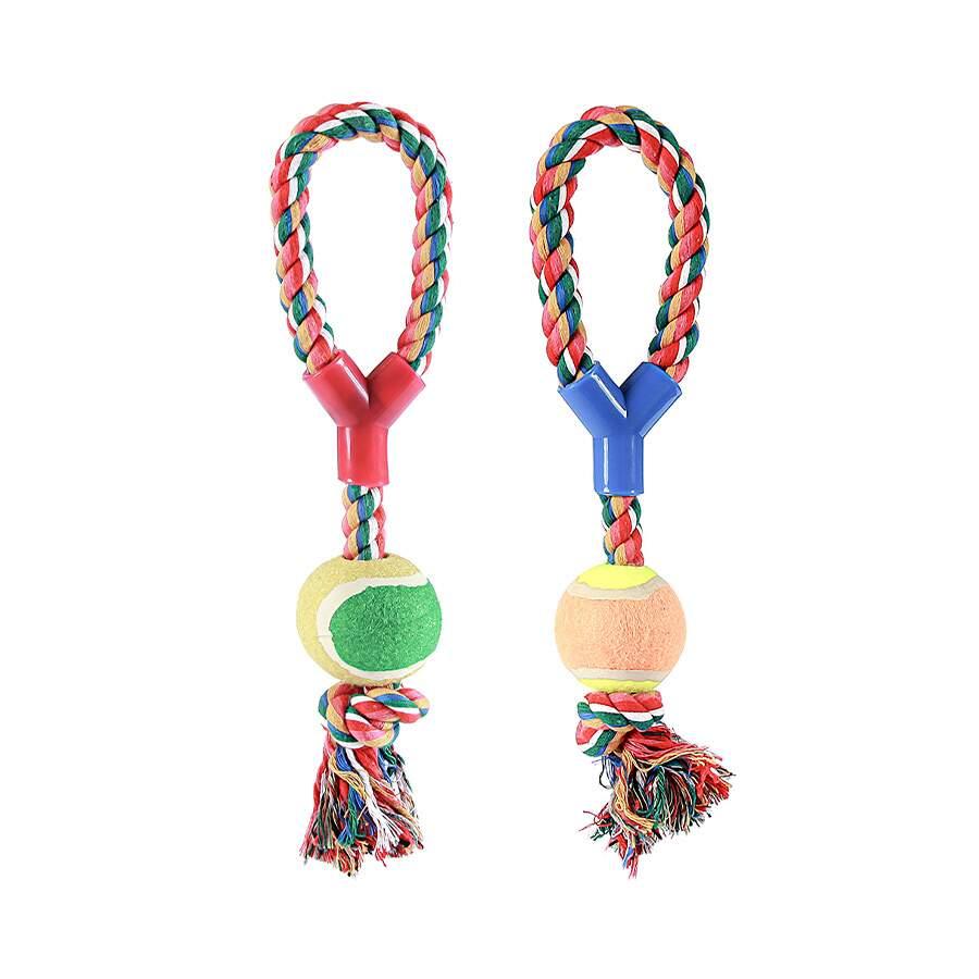 Brinquedo Chalesco para Cães Forca com Bola de Tênis - Cores Sortidas