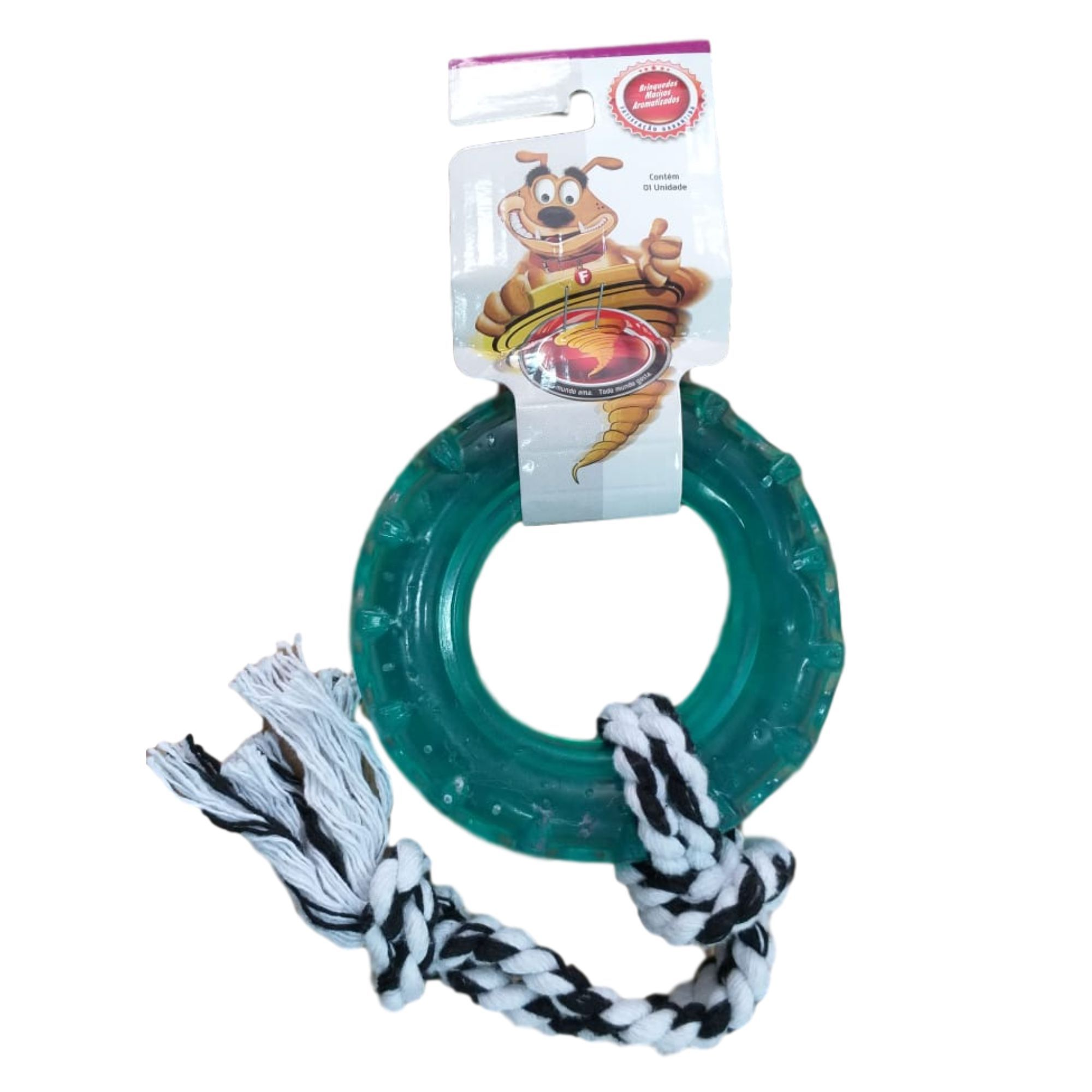 Brinquedo para Cachorro Pneu Maciço com Corda Tamanho G