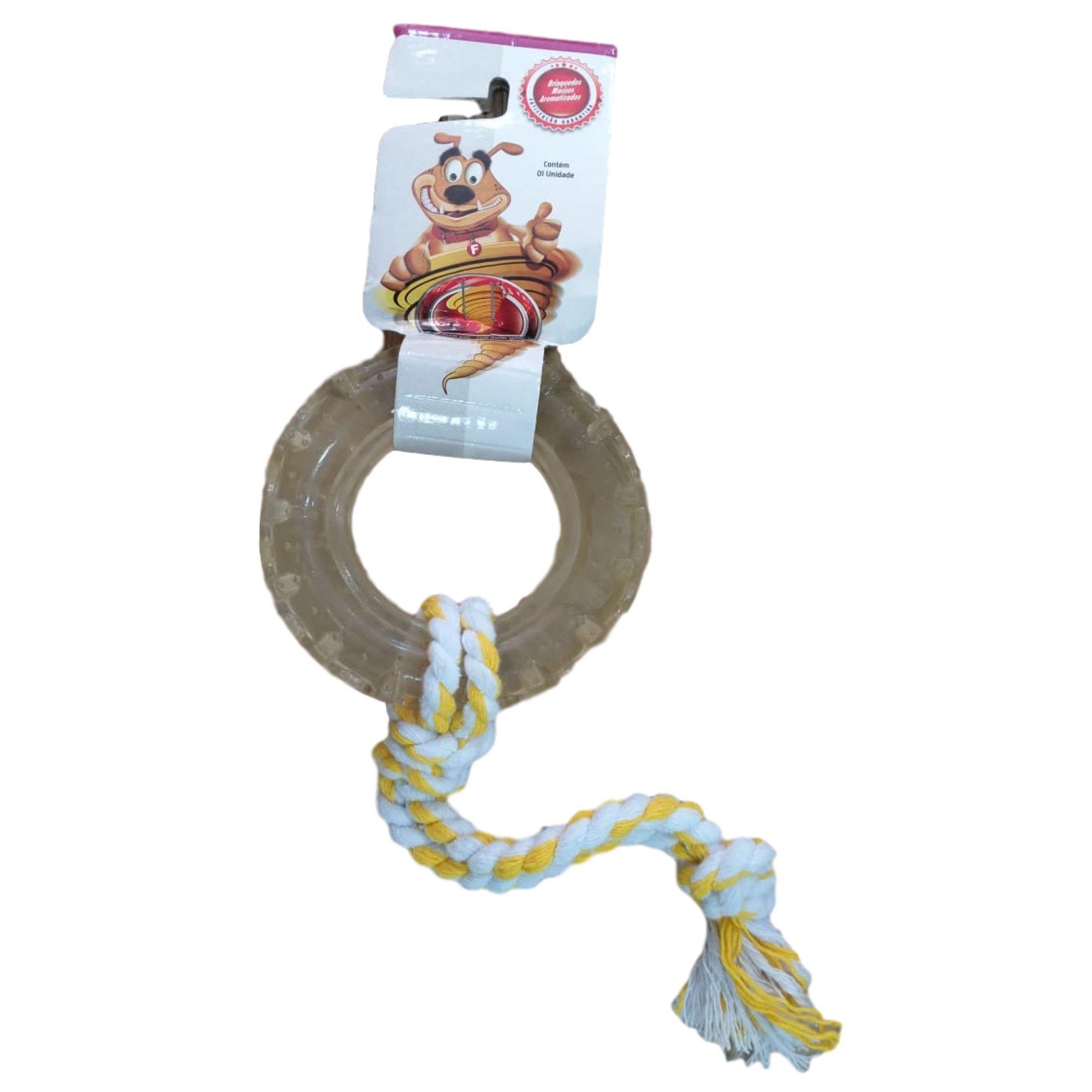 Brinquedo para Cachorro Pneu Maciço com Corda Tamanho M
