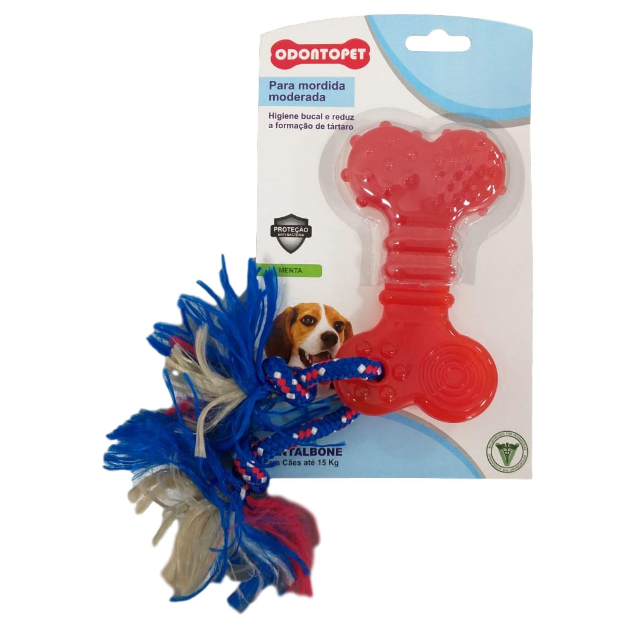 DentalBone Flat com Corda Sabor Menta para Cães de até 15kg