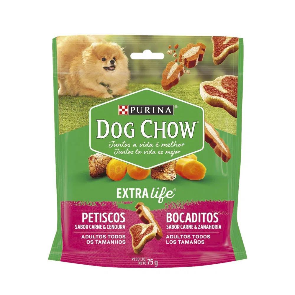 Petisco para Cães Adultos Purina Dog Chow Extralife sabor Carne e Cenoura 75g