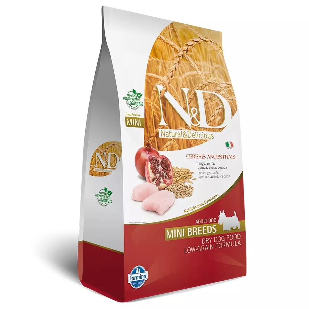 Ração Farmina N&D Ancestral Grain para Cães Adultos de Raças Pequenas Sabor Frango e Romã