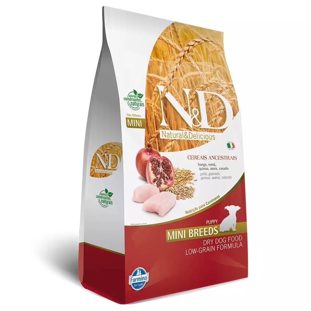 Ração Farmina N&D Ancestral Grain para Cães Filhotes de Raças Pequenas Sabor Frango e Romã