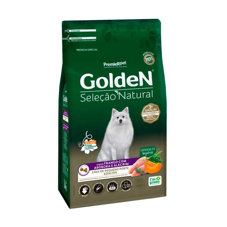 Ração Golden Seleção Natural Frango, Abóbora e Alecrim para Cães Adultos Raças Pequenas
