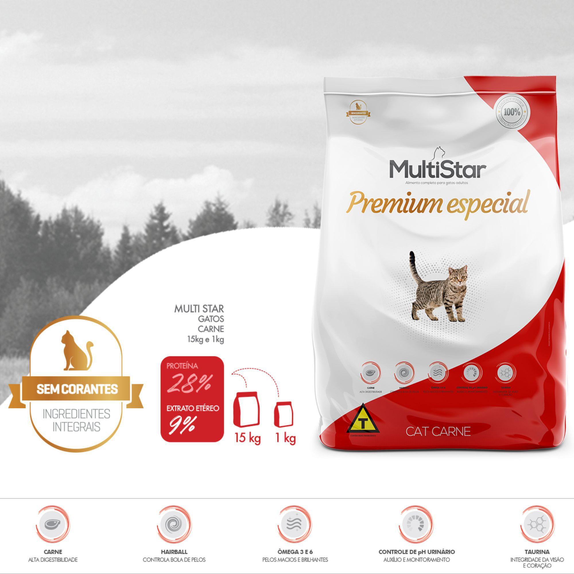 Ração Multi Star Cat Carne Premium Special Para Gatos Adultos 1Kg
