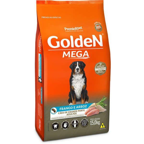Ração Premier Golden Mega Cães Adultos Raças Grandes Frango e Arroz 15Kg