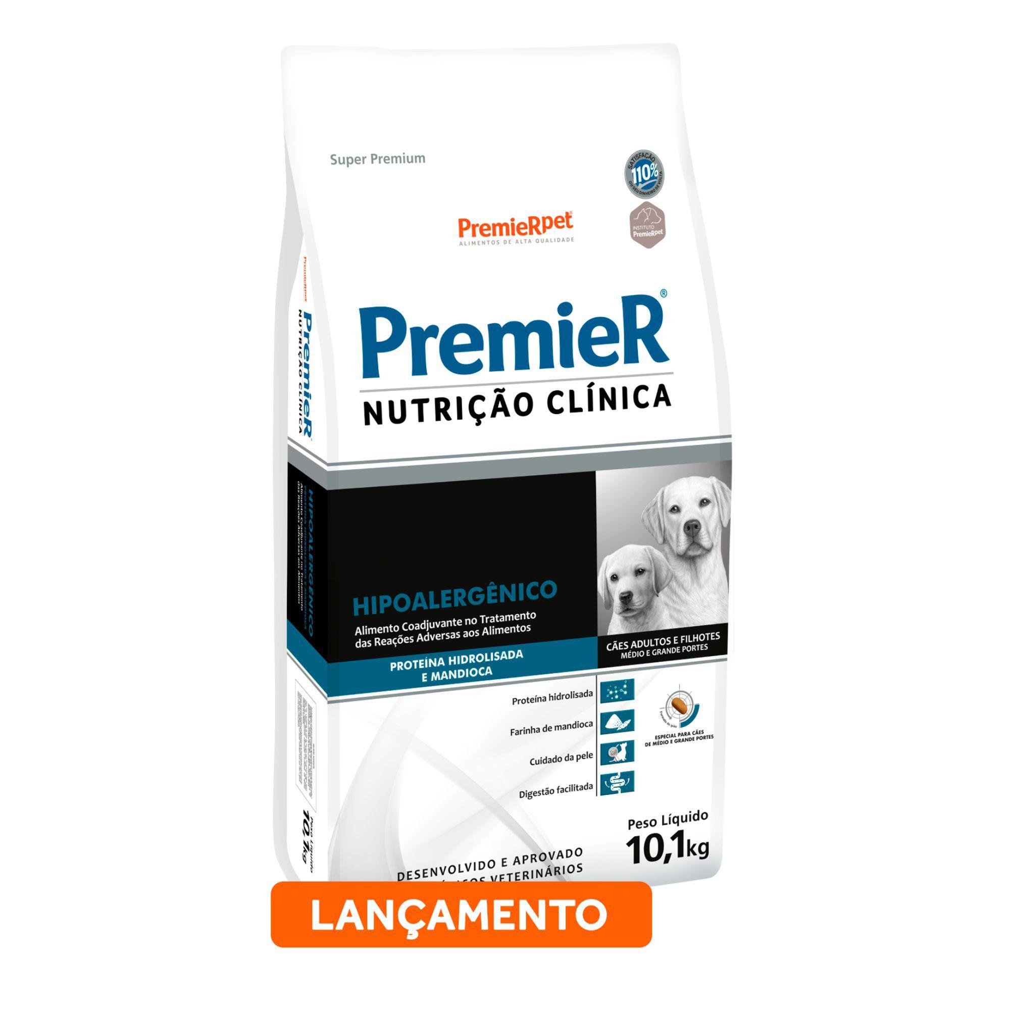 Ração Premier Nutrição Clínica Cães Hipoalergênico Proteína Hidrolisada e Mandioca Médio/Grande Porte 10,1kg