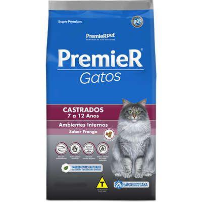 Ração Premier Pet Ambientes Internos Gatos Castrados 7 a 12 anos Frango
