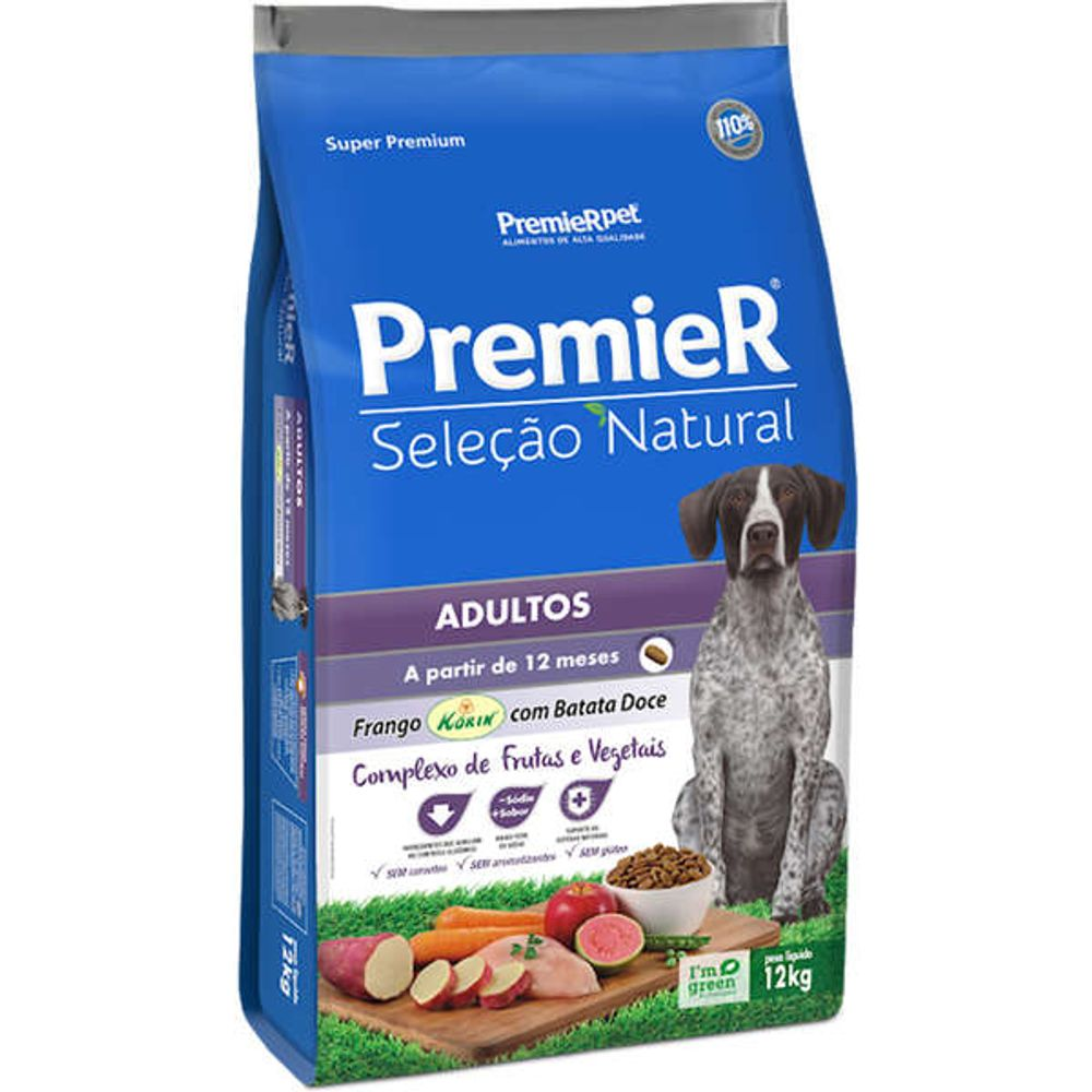 Ração Premier Pet Seleção Natural Cães Adultos Frango Korin com Batata Doce 12kg