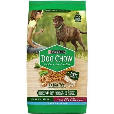 Ração Seca Nestlé Purina Dog Chow Extra Life Frango e Arroz Cães Adultos Todas as Raças 15Kg