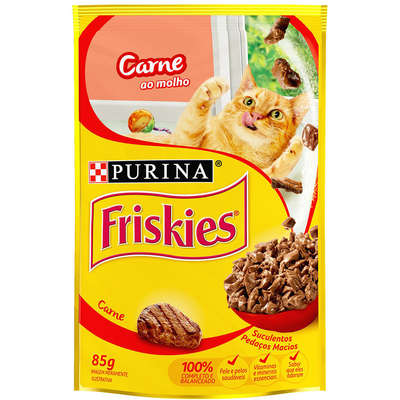 Ração Úmida Friskies para Gatos - Carne ao Molho - 85g