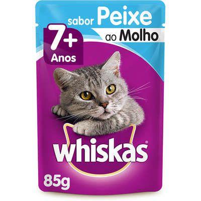 Ração Úmida Whiskas Sachê Peixe ao Molho para Gatos Sênior 7+ Anos