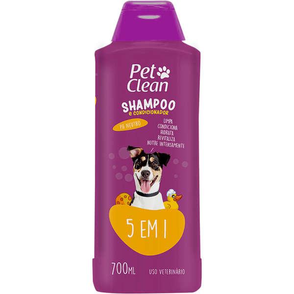 Shampoo e Condicionador Pet Clean para Cães e Gatos 5 em 1 700ML