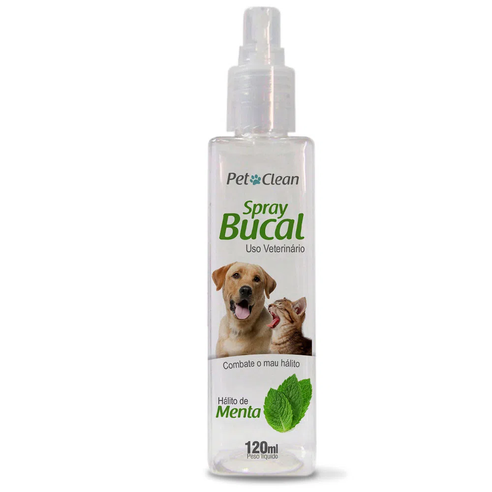 Spray Bucal Pet Clean Sabor Menta para Cães e Gatos - 120 mL