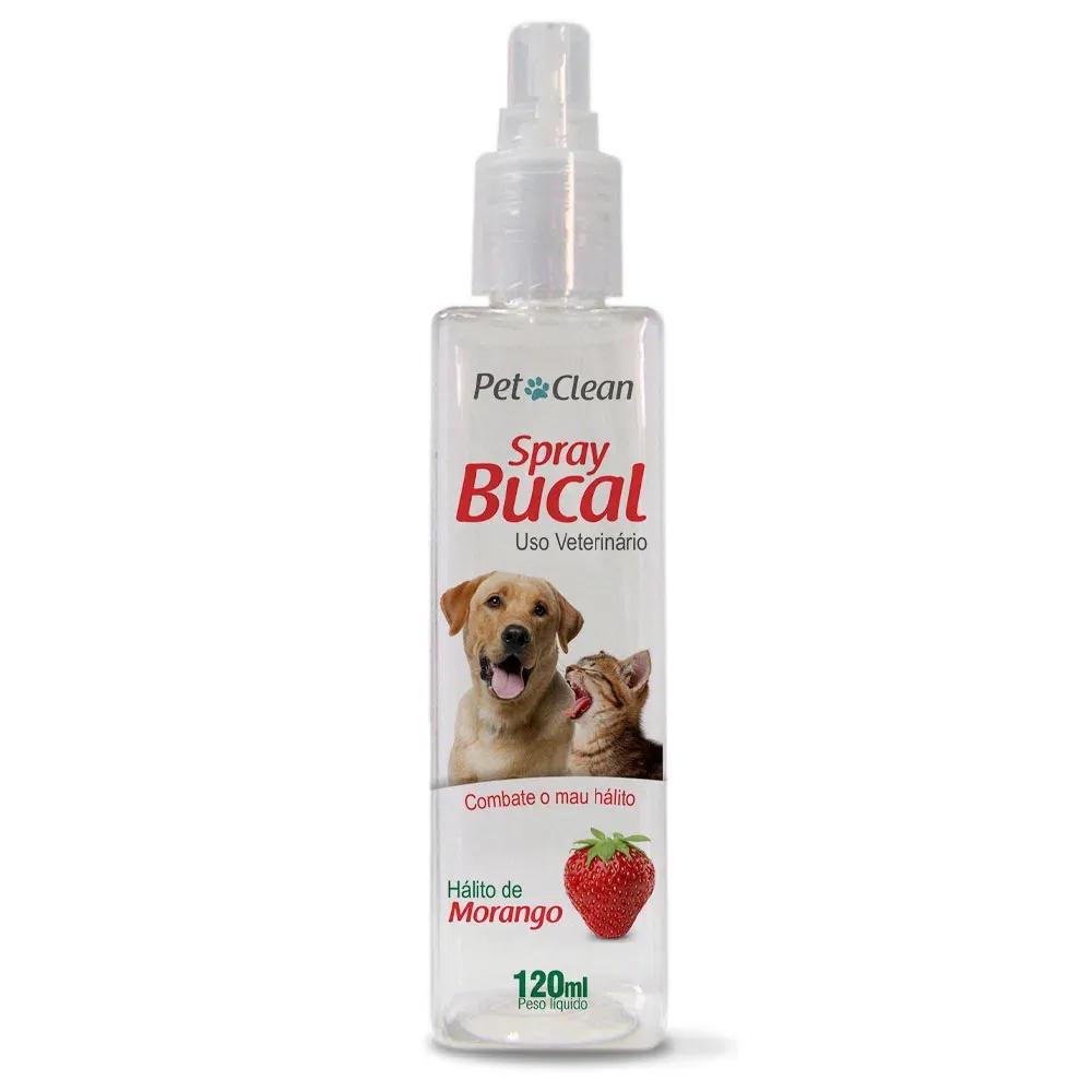 Spray Bucal Pet Clean Sabor Morango para Cães e Gatos - 120 mL