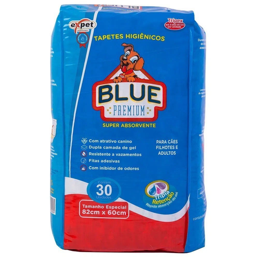 Tapete Higiênico Expet Blue Premium 30 Unidades