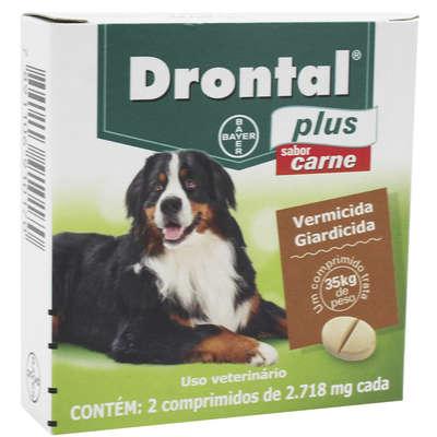 Vermífugo Bayer Drontal Plus Sabor Carne Cães 35 Kg 2 Comprimidos