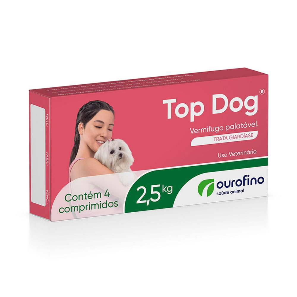 Vermifugo Top Dog 2,5kg c/ 4 comp