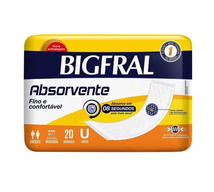 Absorvente para incontinência urinária leve a moderada geriátrico adulto Bigfral com 20 unidades
