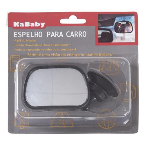Espelho retrovisor retangular preto pequeno com ventosa e prendedor para carro KaBaby