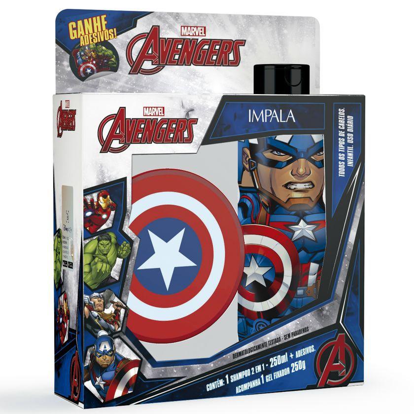 Kit Impala Avengers - Shampoo 2 em 1 250ml + Gel 250g - Vingadores Marvel