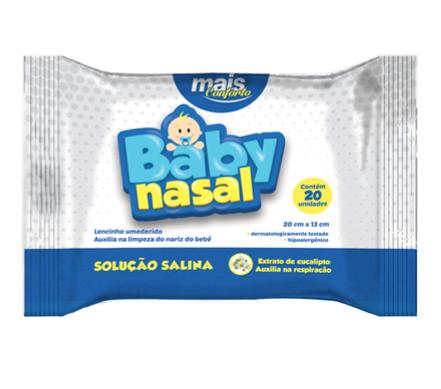 Lenço umedecido com solução salina Baby Nasal - kit com 4 packs com 20 unidades