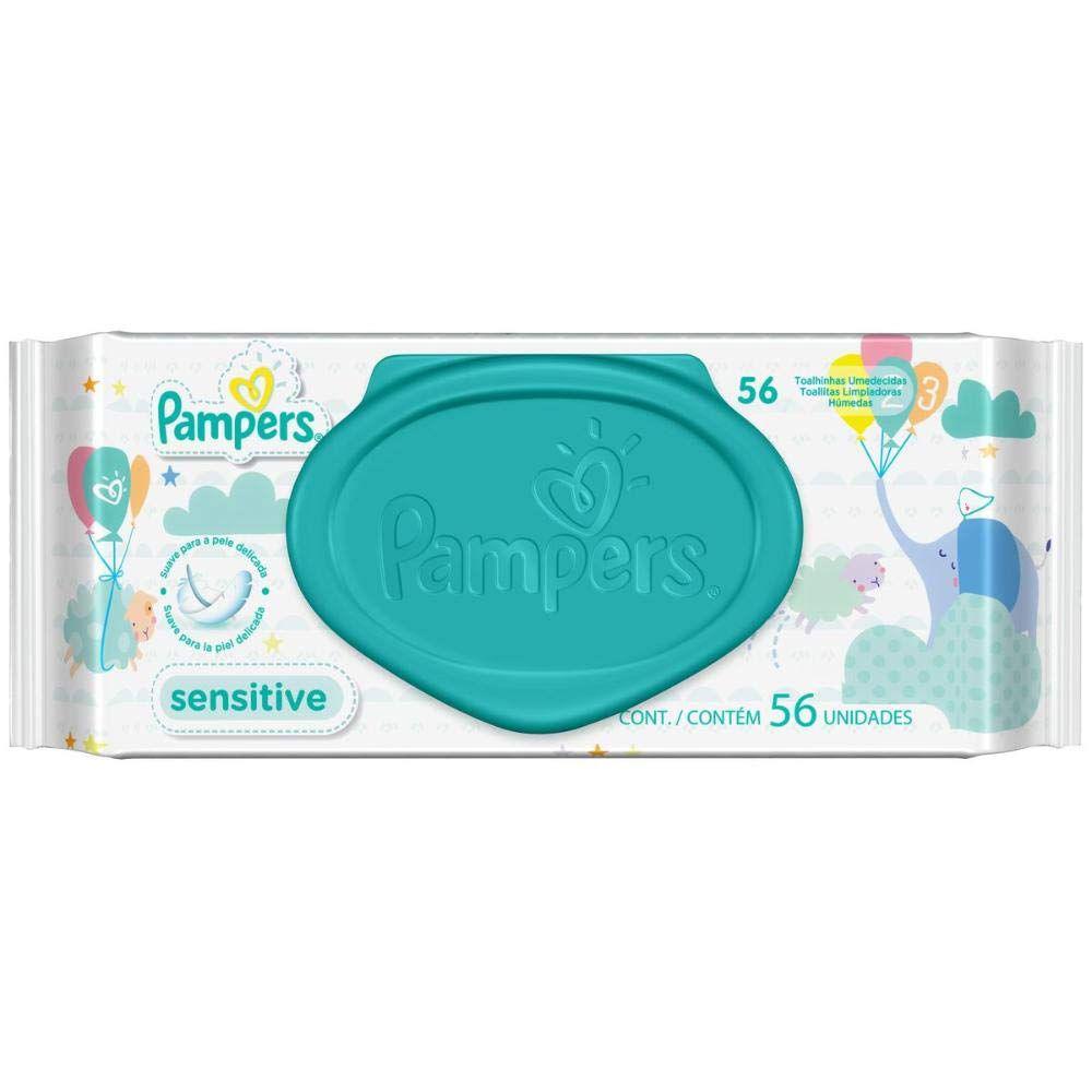Toalhinhas Umedecidas Hipoalergênicas Pampers Sensitive - pack com 56 lenços