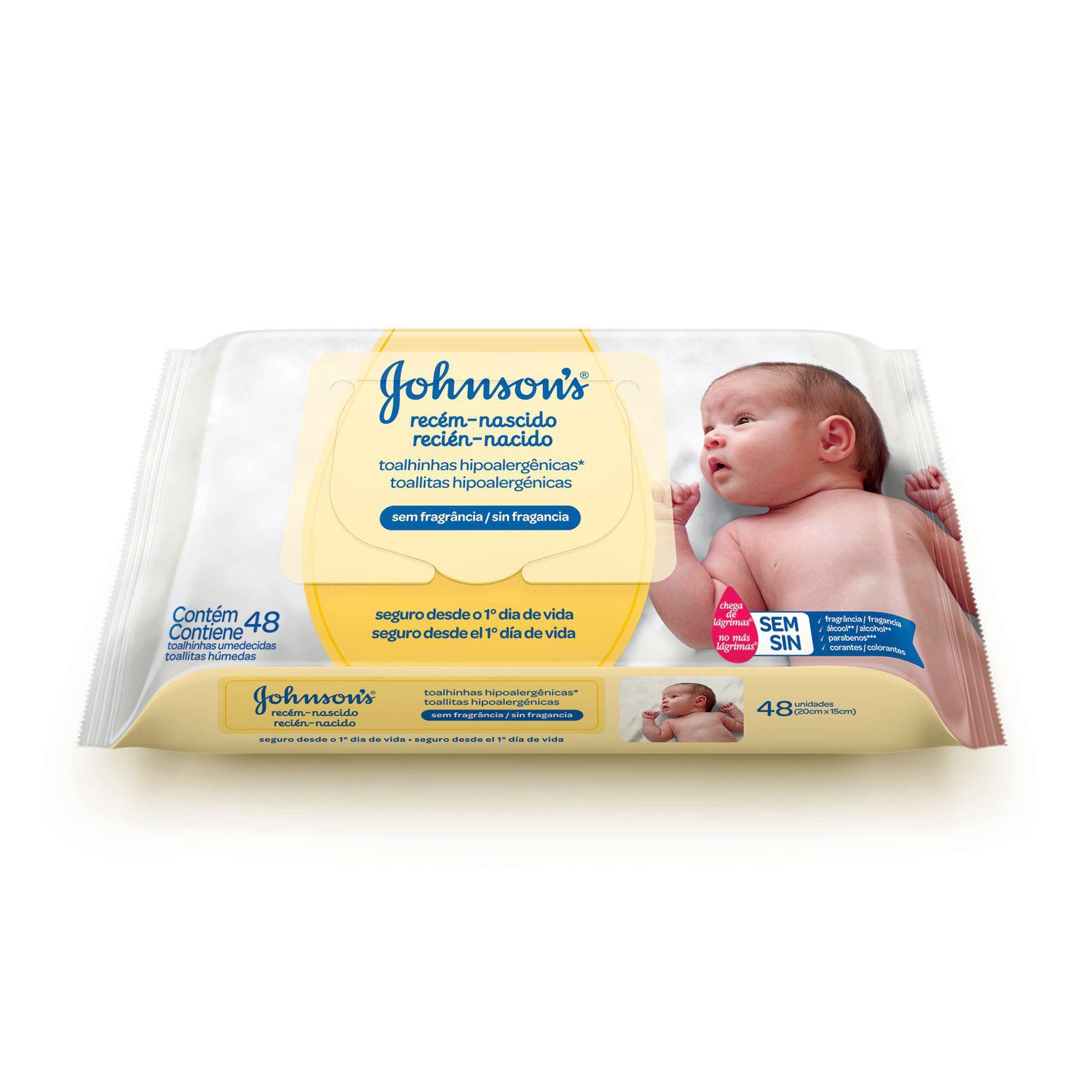 Toalhinhas Umedecidas Hipoalergênicas Sem Fragrância Johnson's Recém-Nascido - pack com 48 lenços