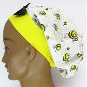 TF515 - Touca estampa abelhas barra amarela