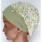 TF576 - Touca estampa Floral verde/rosa