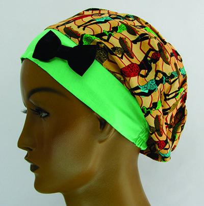 TF198 - Touca estampa Afro barra verde  - Atelier Babinski