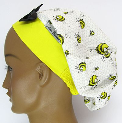 TF515 - Touca estampa abelhas barra amarela  - Atelier Babinski