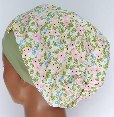 TF576 - Touca estampa Floral verde/rosa  - Atelier Babinski