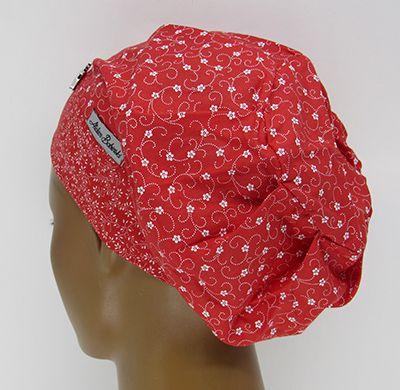 TF617 - Touca Estampa Floral Vermelha  - Atelier Babinski