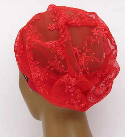 TF638 - Touca de Tule Bordado Vermelha  - Atelier Babinski
