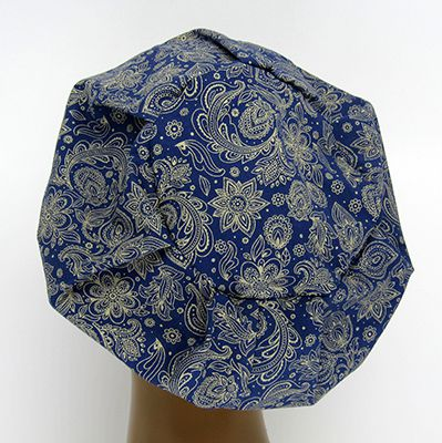 TF723 - Touca Estampa Floral Bege fundo Marinho  - Atelier Babinski