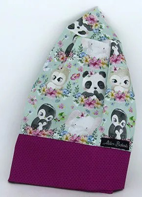 TF777 - Touca Estampa Animais da Floresta Barra Pink Poá  - Atelier Babinski