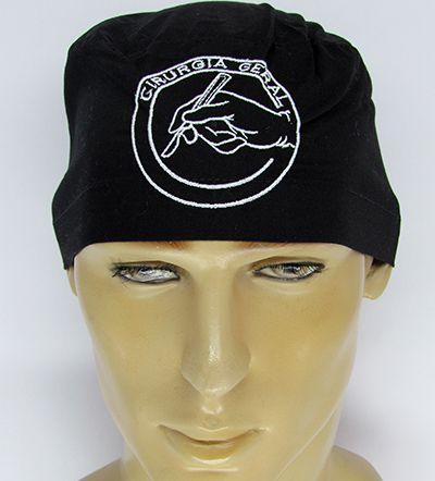 TM121 - Gorro preto bordado Cirurgia Geral   - Atelier Babinski