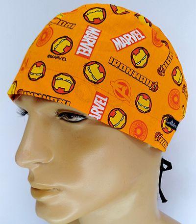 TM131 - Gorro estampa Marvel fundo laranja  - Atelier Babinski