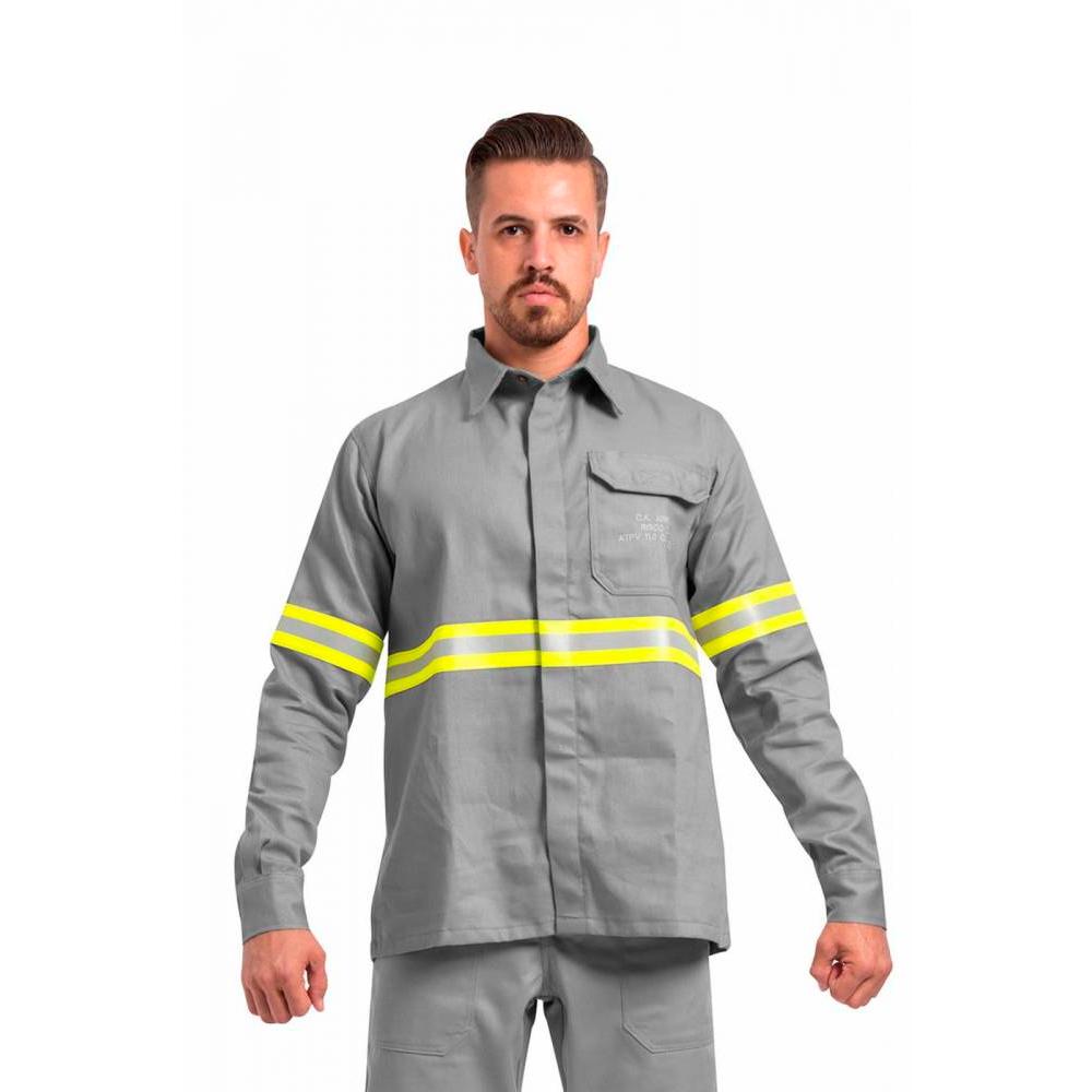 Camisa Anti Chama Fire DX NR-10 Cinza Faixa Refletiva Risco 2 Guardian CA 30975